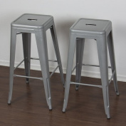 Best Choice Products SKY1651 80cm Set of 2 Modern Industrial Backless Metal Bar Stools- Silver/Grey