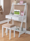 Writing Desk and Stool w/White Colour Finish Pine Wood by Poundex
