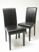 Roundhill Urban Style Solid Wood Leatherette Padded Parson Chair, Black, Set of 2