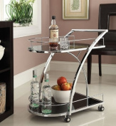 Chrome Metal Bar Tea Serving Cart With Tempered Glass