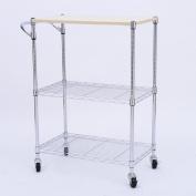 HomCom 60cm Portable Rolling Wire Shelf Wood Top Kitchen Storage Trolley