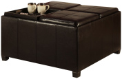 Convenience Concepts 143033 Designs-4-Comfort Times Square Ottoman with 4 Tray Tops