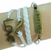 LUOS Fashion vintage bronze charms white braided leather rope bracelet
