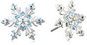 "Disney Girls' ""Frozen"" Silver-Plated Crystal Snowflake Stud Earrings"