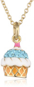 Molly Glitz Girls' 14K Gold Plated Aqua Crystal and Vanilla Cupcake Pendant Necklace, 36cm