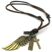 KONOV Jewellery Mens Vintage Angel Wing Cross Pendant Brown Leather Cord Necklace Chain, Gold