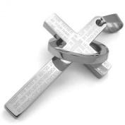 KONOV Jewellery Stainless Steel Mens Womens Prayer Ring Cross Pendant Necklace, Silver, 46cm - 70cm Chain