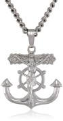 Men's Sterling Silver Solid Mariner's Cross with Crucifix and Stainless Steel Chain Pendant Necklace, 60cm