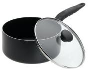 Mirro A7972484 Get A Grip Aluminium Nonstick 2.8l Saucepan with Glass Lid Cover Cookware, Black