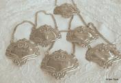 St/6 Fleur Engraved Liquor Decanter Label Silver Emblem