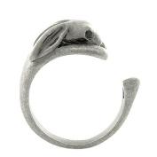 Enhanced Bunny Rabbit Adjustable Animal Wrap Ring Vintage Silver Tone