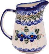 Polish Pottery Ceramika Boleslawiec, 0205/162, Pitcher Jacek 1, 1 Cup, Royal Blue Patterns with Blue Pansy Flower Motif