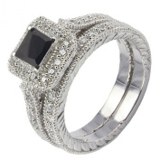 2.3Ct Sterling Silver 925 Princess Black Cubic Zirconia Wedding Set Ring Size 5 to 10