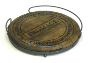 48cm Round Fromage Antique Style Artisan Wood Platform Cutting / Serving Board Tray with Metal Railing Handles & Legs