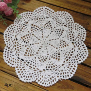 kilofly Crochet Cotton Lace Table Placemats Doilies Value Pack, 4pc, Roma, White, 25cm