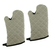 New Star Foodservice 32277 Commercial Grade Flame Retardant/Resistant Oven Mitts with Extra Defence, 33cm , Set of 2