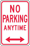 "Accuform Signs FRP717RA Engineer Grade Reflective Aluminium Parking Restriction Sign, Legend ""NO PARKING ANYTIME"" with Double Arrow, 30cm Width x 46cm Length x 0.2cm Thickness, Red on White"