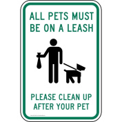 ComplianceSigns Aluminium Pets / Pet Waste sign, Reflective 46cm x 30cm . with Pet Rules info in English, White