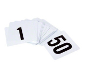 Tablecraft TN50 Plastic Table Number Card Set, 1 to 50