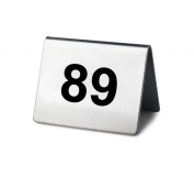 New Star Stainless Steel Tent Style Table Number Card, 5.1cm by 3.8cm , Numbers 76 to 100