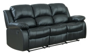 Homelegance 9700BLK-3 Double Reclining Sofa, Black Bonded Leather