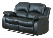 Homelegance 9700BLK-2 Double Reclining Loveseat, Black Bonded Leather