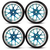 RC 1:10 Flat Racing Car Drift Car Blue Y Shape Hub Wheel Rim Smooth Tyres Pack Of 4
