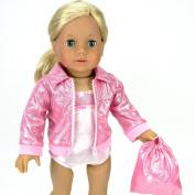 46cm Doll Gymnastics 3 Pc. Set Fits 46cm American Girl Doll Clothes & More! Pink Leotard, Jacket & Gym Bag in Pink