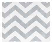 Grey and White Chevron Zig Zag Accent Floor Rug