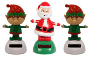 Solar Powered Dancing Christmas Santa and Elves Set