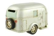 Coin Bank, Silver Vintage Travel Trailer Camper RV Collectible, 17cm