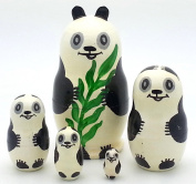 PANDA Russian Nesting doll Hand painted 5 piece set from BuyRussianGifts