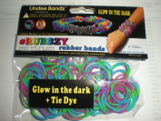 Rubbzy Aqua Teal and Magenta Glow in the Dark 100 Loose Rubber Bands