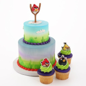 Angry Birds Spoon Cake Topper and 24 Cupcake Topper Rings