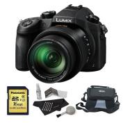 Panasonic Lumix DMC-FZ1000 4K QFHD/HD 16X Long Zoom Digital Camera (Black) + Panasonic 16 GB UH3 SD Card + Camera Bag + Camera Cleaning Kit