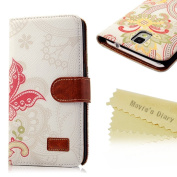 Mavis's Diary for Samsung Leather Series Fashion style Flower Wallet Type Magnet Design Cover Case with Soft Clean Cloth