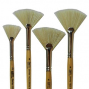 White Bristle Stiff Fan Brush Set Size 2,4,6,8