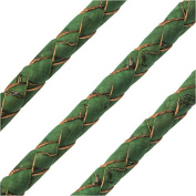 Regaliz Portuguese Cork, Round and Braided 6mm, By The Inch, Grass Green