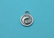 30 Yin Yang Charms Silver Tone Double-Sided