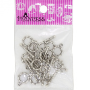 Alloy Bar & Ring Toggle Clasps, Donut, Antique Silver Colour for Jewellery Bracelet Necklace Making DIY, Pack of 12