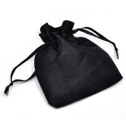 Housweety 100pcs Black Satin Gift Bags Jewellery Party Wedding Favour Bags with Drawstring 9x7cm