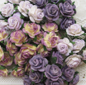 60 pcs Small Purple Rose Mulberry Paper Flower 15 mm scrapbooking wedding doll house supplies card
