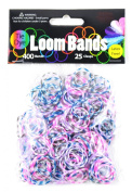 Midwest Design Imports Loom Bands Plum Blossom Tie Dye, Includes 400 Bands and 25 Clasps