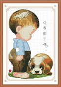 AngelGift Monalisa Stamped Cross Stitch- Kid and Puppy