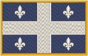 Quebec Canada Flag Iron-on Patch Biker Emblem Gold Merrow Border