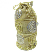 Fashionable Wristlets Potli Bag Beige Silk Blend Wallets Sequins Ethnic Women Clutch India Gift