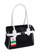 "Belli® ""The Mini Bag"" Womens Italian Genuine Leather Handbag Croco Embossing Black White - 26x18x13 cm"