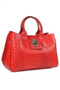 Belli® Womens Italian Genuine Leather Tote Bag Classic City Style Croco Embossing Red - 36,5x24x18 cm