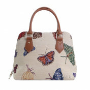 Signare Fashion Canvas/Tapestry Convertible/Shoulder/Hand Bag in Butterfly Design
