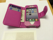 New Style Apple iPhone 4 4S Hot Pink Wallet Style with Two Card Slots PU Leather Case Cover For Apple iPhone 4 4S by G4GADGET®